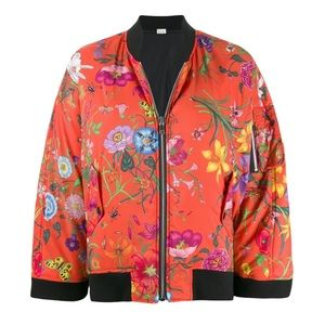 GUCCI Floral-Print Reversible Bomber Jacket/Cape NWT